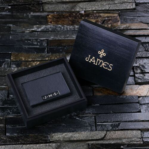 monogram or logo Engrave a name Personalised Leather Business Cardholder