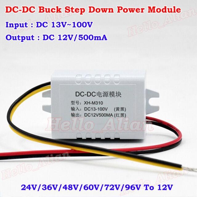 DC-DC Buck Step Down Converter 13-100V 24V 36V 48V 72V to 12V 500mA Power Module