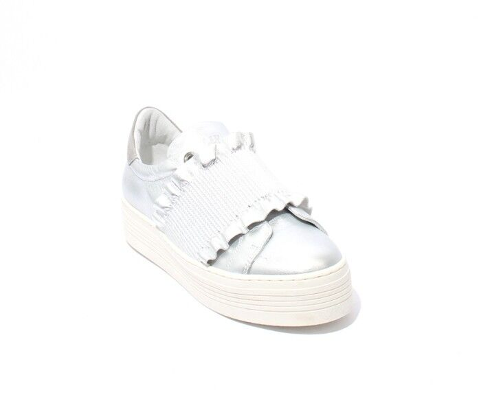 Mally 6174 Silver   White   Leather   Elastic Platform shoes 41   US 11