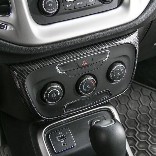 Carbon Fiber Air Conditioner Control Decoration Panel Trim for Jeep Compass 2017
