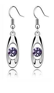 ELEGANT-ARGENT-amp-Violet-Cristal-Eye-GOUTTE-BRILLANT-Boucles-d-039-oreilles-pendantes