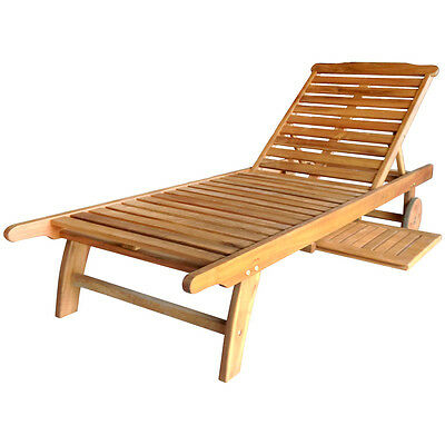 Charles Bentley Hardwood Wooden Garden Patio Sun Lounger Sunbed Recliner Tray