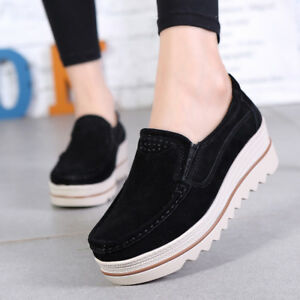 womens sports shake shoes casual leather thick bottom