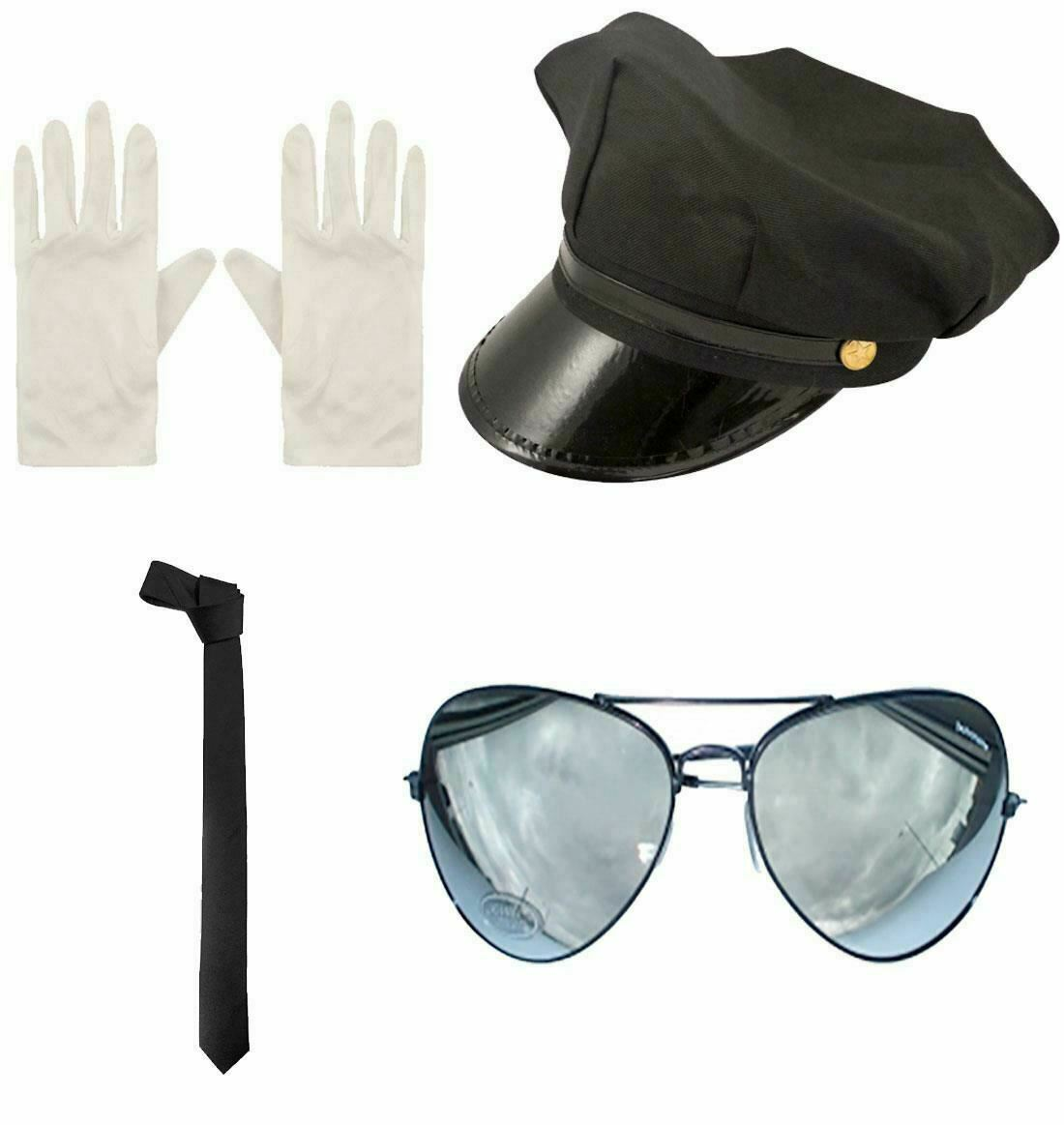 Adults Gloves Neck Tie Cap Limo Taxi Driver Glasses Aviators Fancy Kit Accessory
