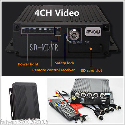 New 4CH Video/Audio Car Vehicle Mobile HD DVR Realtime Recorder SW-0001A+ Remote