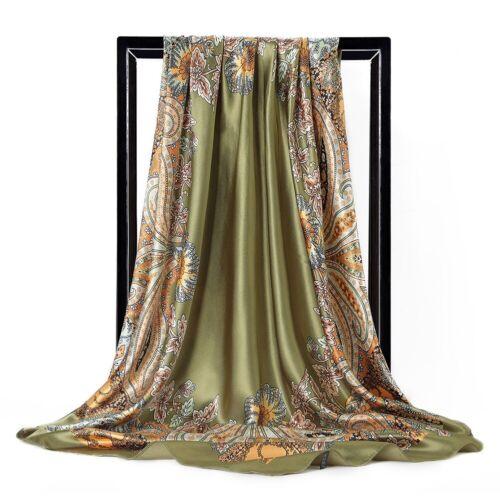 """Fashion Womens  Printed Hijab Scarf Silk-Satin Square Head Shawl Scarves 35/""""*35/"""""""