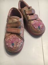 Ragg Girls Beaded & Glittery Sequin Tennis Shoes Velcro Closure Size 26