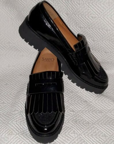 FRANCO SARTO 9M Duncan LOAFERS BLACK Patent LEATHE