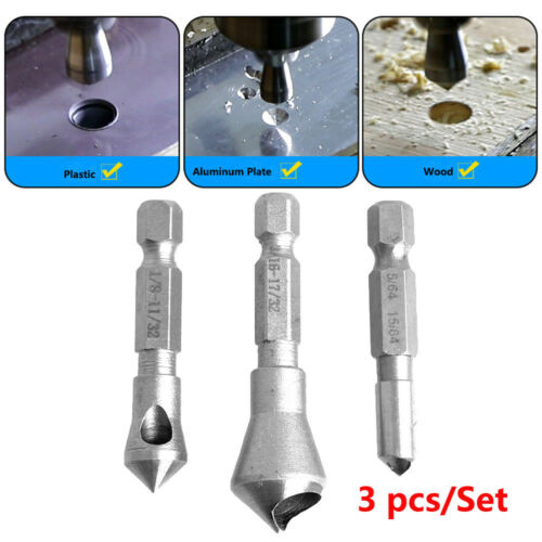 3Pcs HSS Wood Metal Drill Bit Titanium Coated Countersink and Deburring Tool Set
