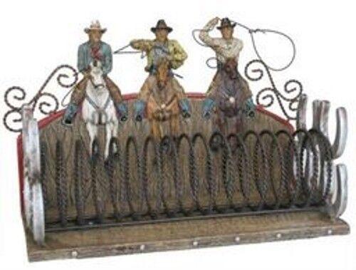 Decoración CD Estante Cowboy con LASSO Figura 31x14x20 cm de tamaño pintado a