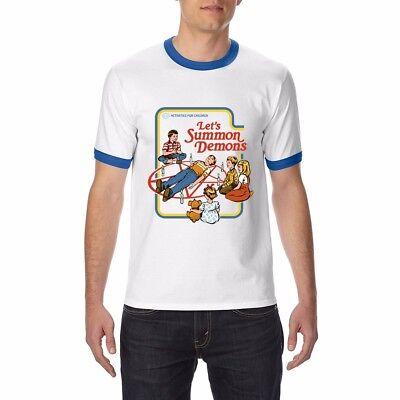 Let's Summon Demons funny T-shirt Ringer Men's Cotton Tops Short Sleeve Tees