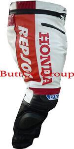 HONDA-GAS-REPSOL-RED-MOTORBIKE-MOTORCYCLE-BIKER-COWHIDE-LEATHER-ARMOURED-TROUSER