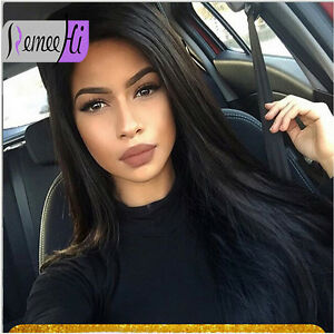 Silky-Straight-100-Indian-Remy-Human-Hair-12-034-22-034-Lace-Front-Full-Wig-Baby-Hair