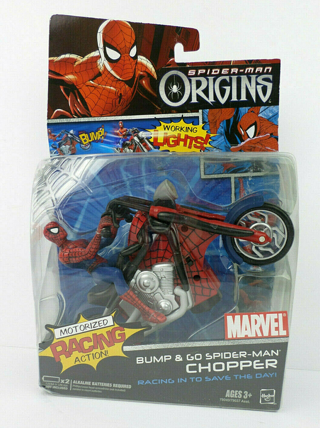 Marvel Spider-Man Chopper Motorizada Bump & Go con luces de trabajo 2006 orígenes