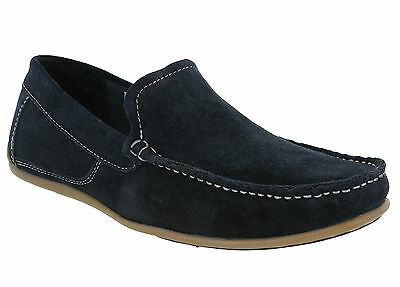 Roamers Mocasín Mocasines de cuero de gamuza Zapatos para hombre slip on Flat Deck UK6-12