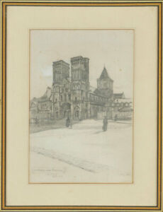 Ruth-Cobb-Early-20th-Century-Graphite-Drawing-L-039-Abbaye-aux-Femme-Caen