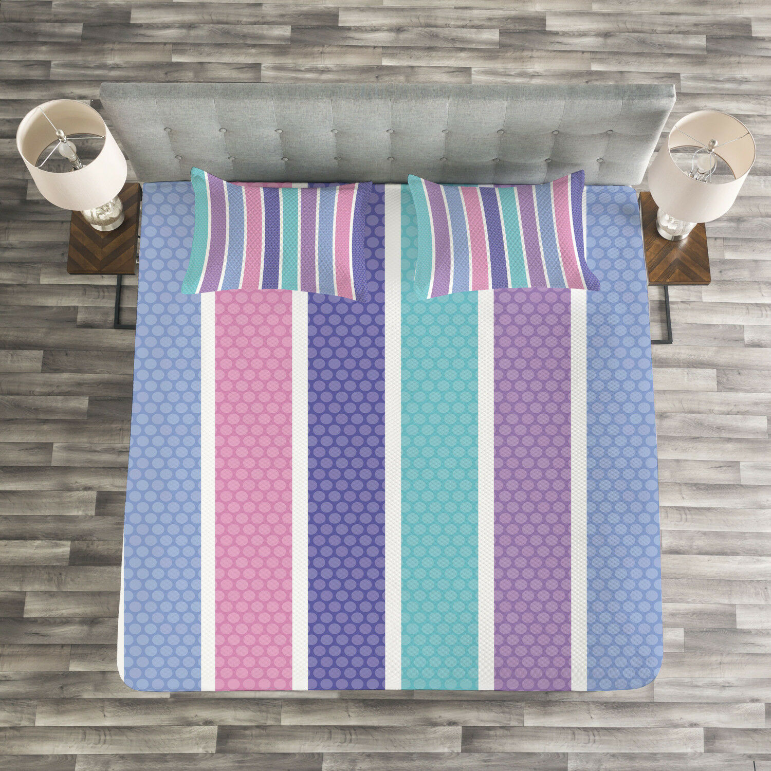 Abstract Quilted Bedspread & Pillow Shams Set, Polka Dot with Stripes Print
