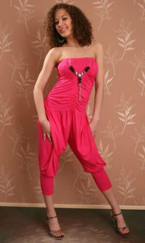 Harems Jumpsuit Overall Bandeau Mit Abnehmbarer Kette / Pink S/M 34,36,38