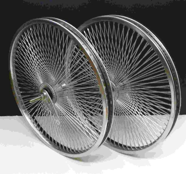 "24/"" Rear /& Front Beach Cruiser Lowrider Rims 144 spokes wheels Coaster Black"