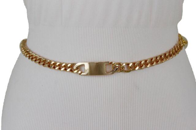 Women Ivory Narrow Fashion Belt Gold Metal Chain Links Buckle Hip High Waist S M