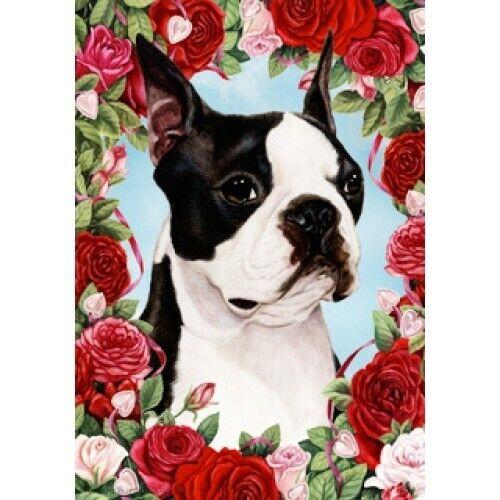 Roses Garden Flag Boston Terrier 190321