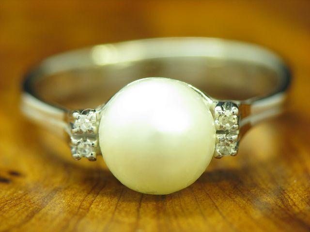 18kt 750 whitegold Ring mit Akoya Perlen & Diamant Besatz   3,1g   RG52