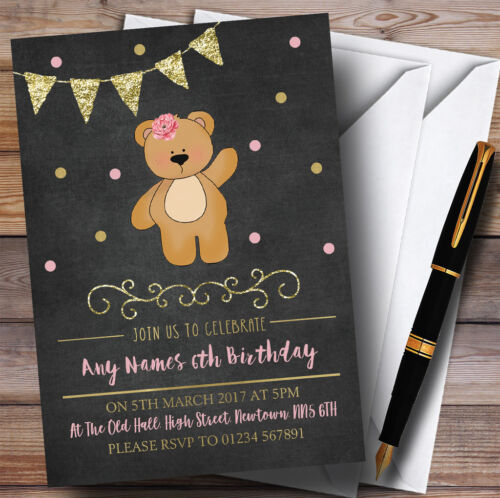 Craie or filles nounours Childrens Birthday Party Invitations