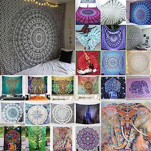 Indisch-Elefant-Mandala-Blume-Tapisserie-Wandteppich-Wandbehang-Yoga-Strandmatte