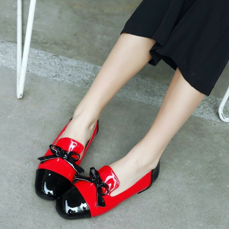 Womens Slip On Flats Loafers Patent Leather Casual Flats On Shoes Spring Bowknot Tassel a62415