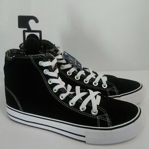 NEW-Mens-Canvas-Classic-High-Top-Shoes-Black-White-Skate-Walking-Sneakers-Size-8