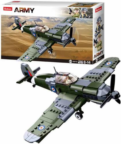 WWII SPITFIRE PLANE RAF PILOT ARMY SOLDIER MINI FIGURES MILITARY M38-B0712 SET