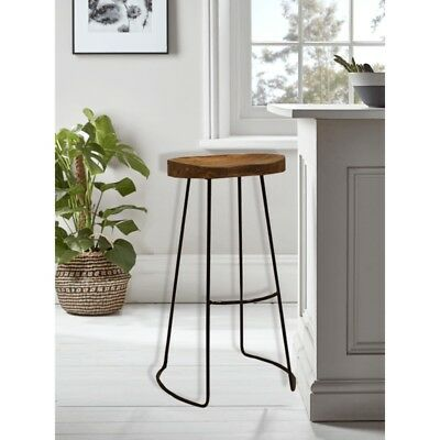 Marvelous Modern Farmhouse Bar Stool Wooden Seat Metal Base Kitchen Dining Room Furniture Ebay Creativecarmelina Interior Chair Design Creativecarmelinacom