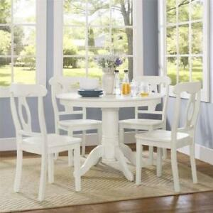 Cottage Farmhouse Dining Set White 5 Piece Wood Round Table Chairs Kitchen New 689000526903 Ebay