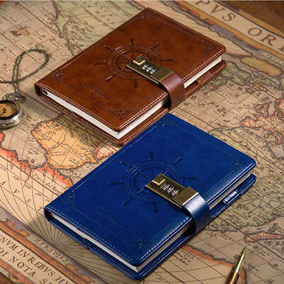 B6 Password Lock Diary Leather Planner Notebook Ruled Blank Secret Note Memo Pad