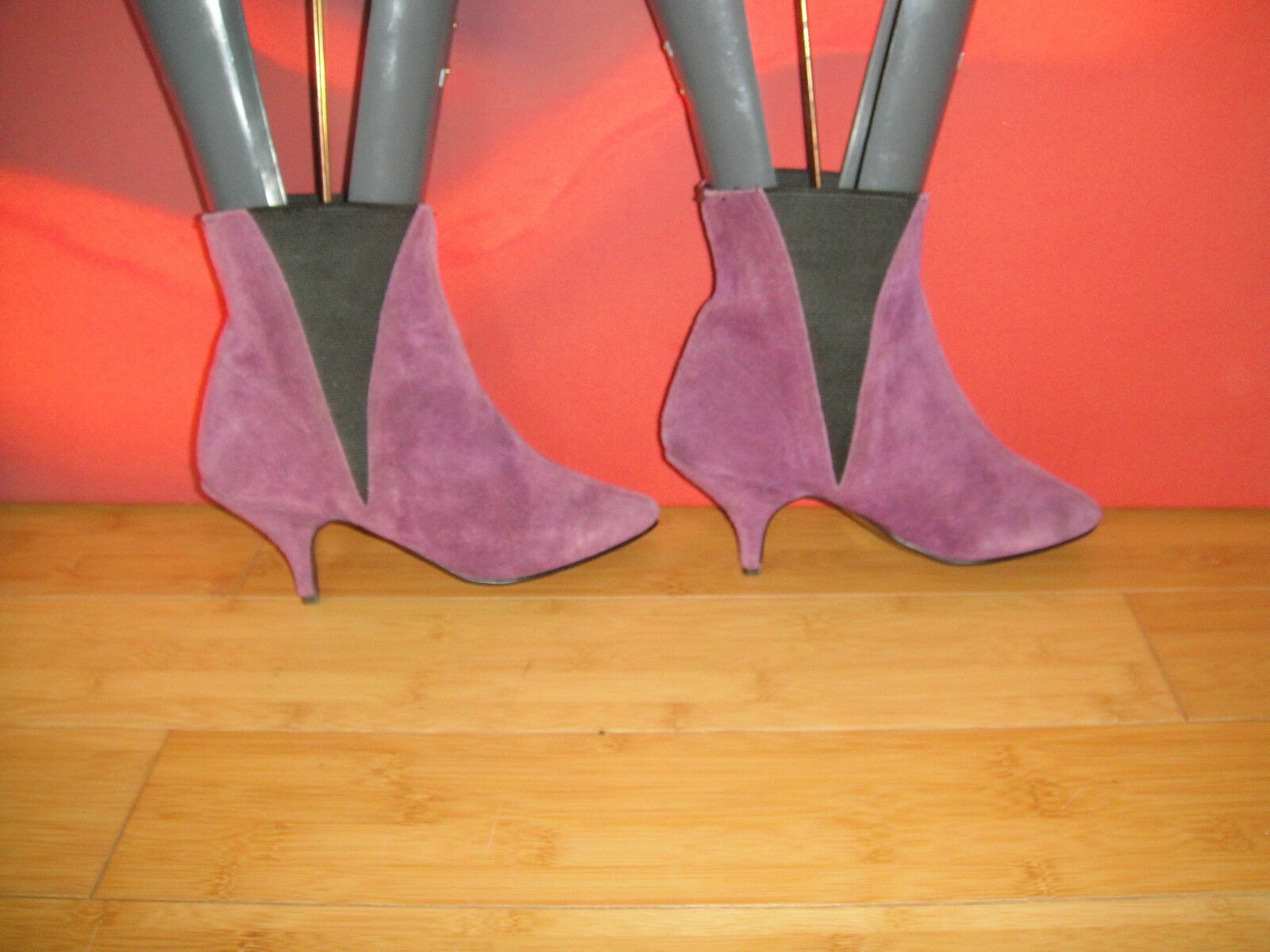 SUPERB VINTAGE PURPLE SUEDE LEATHER CHELSEA ANKLE  BOOTS UK 1 *19* indie retro