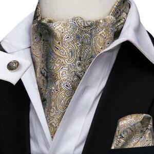 Yellow-Gray-Paisley-Mens-Silk-Ascot-Cravat-Tie-Set-Wedding-Business-Jacquard