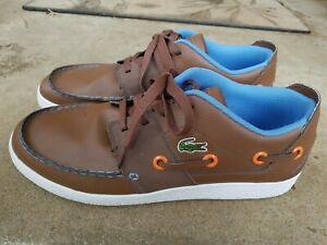 Lacoste-shoes-Men-Low-rise-BROWN-Leather-CABESTAN-SNEAKERS-SZ-11-GOOD-CONDITION