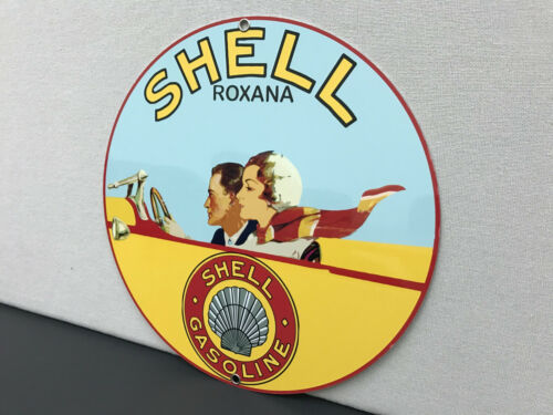 SHELL ROXANA gasoline Oil RARE vintage round metal  sign reproduction