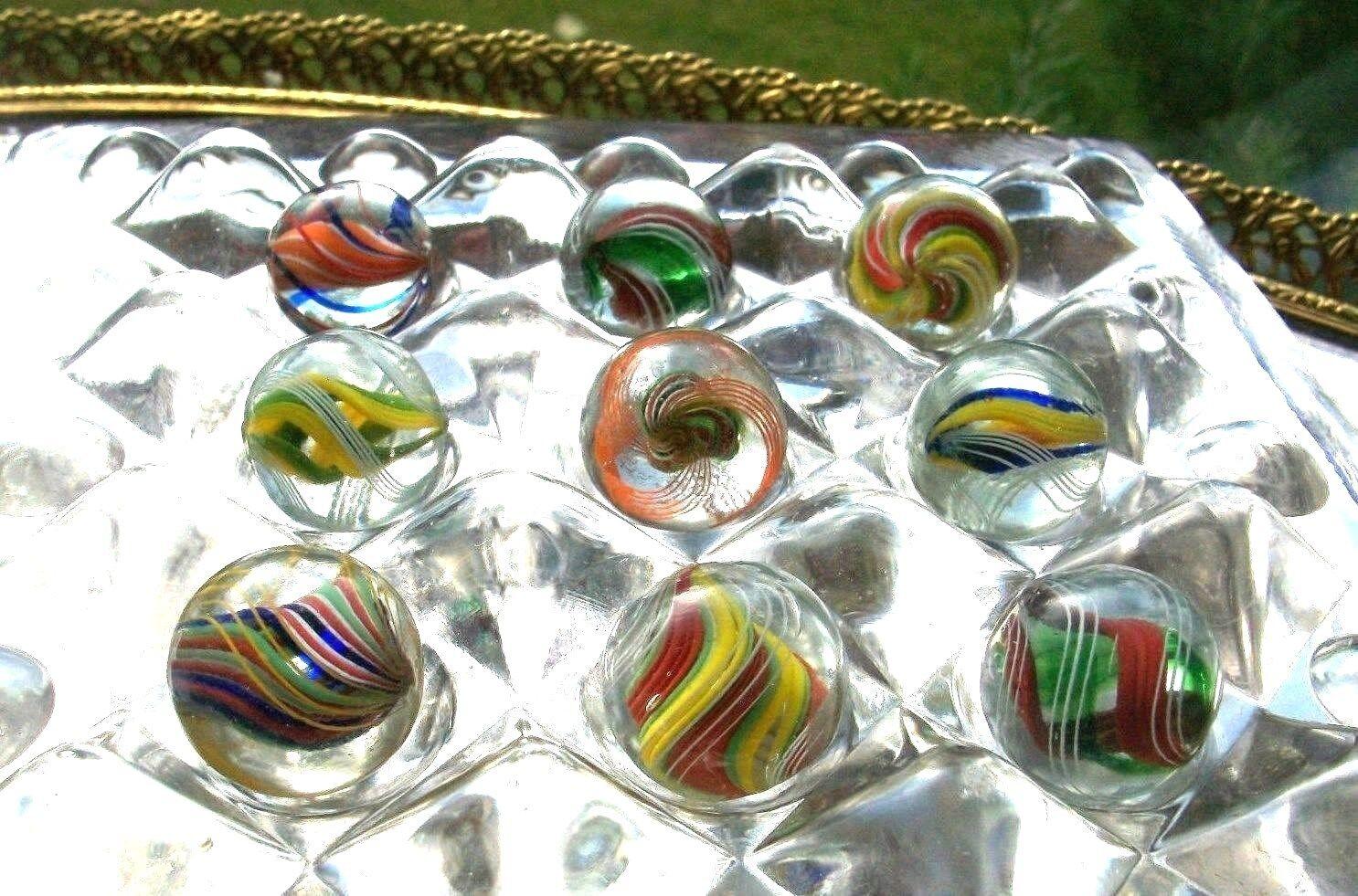 Antiguo Glass Marbles Remolino cinta Core + Vidrio Mármol Display Stand soporte Raro