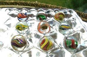 Verre Antique Marbles Swirl Ruban Rare Titulaire Marbre Présentoir