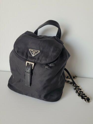 Prada tessuto Nylon vela Chain Mini Backpack Black