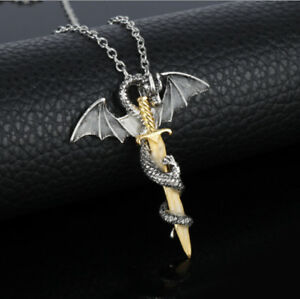 Silber-Gold-Edelstahl-Anhaenger-Halskette-Kette-Punk-Drachen-Schwert-Wing