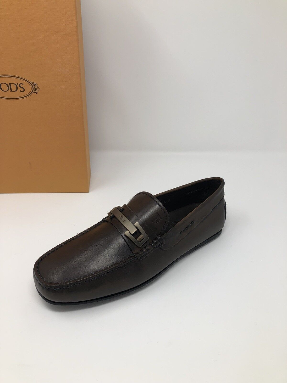 595 nuovo Tods Mens Dark Marronee sautope Gommino Loafers 7 US 6 EU