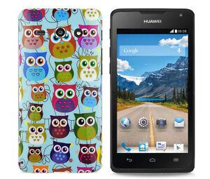 TPU-Case-f-Huawei-Ascend-Y530-Schutzhuelle-Tasche-Cover-Etui-kleine-Eulen-Baum