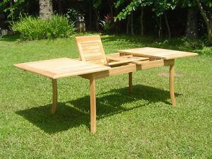 GradeA Teak Wood Double Extension Rectangle Dining Table - Teak extension table outdoor