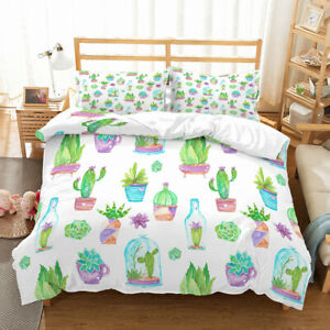 Cartoon-Cactus-Tropical-Plant-Bedding-Set-Duvet-Cover-Comforter-Cover-PillowCase
