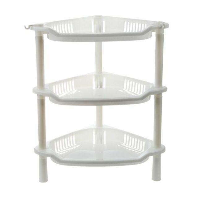 1X(3 Tier Plastic Corner Shelf Organizer Cabinet Bathroom Kitchen Sundries Y4Q3)