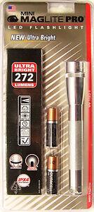Maglite-SP2P10H-Mini-Mag-2-Cell-LED-PRO-Flashlight-272-Lumens-Silver-GIFT-USA