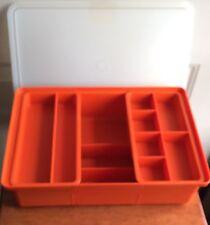 Vintage Tupperware Poppy Hobby Organizer Container w/2 Top Sliding Trays