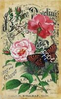 Fabric Block Vintage Pink Flowers Sheet Music Butterfly Chic Shabby